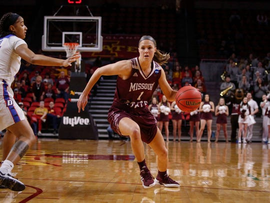 Missouri State senior Danielle Gitzen drives the ball in against DePaul on Saturday, March 23, 2019, at Hilton Coliseum in Ames.