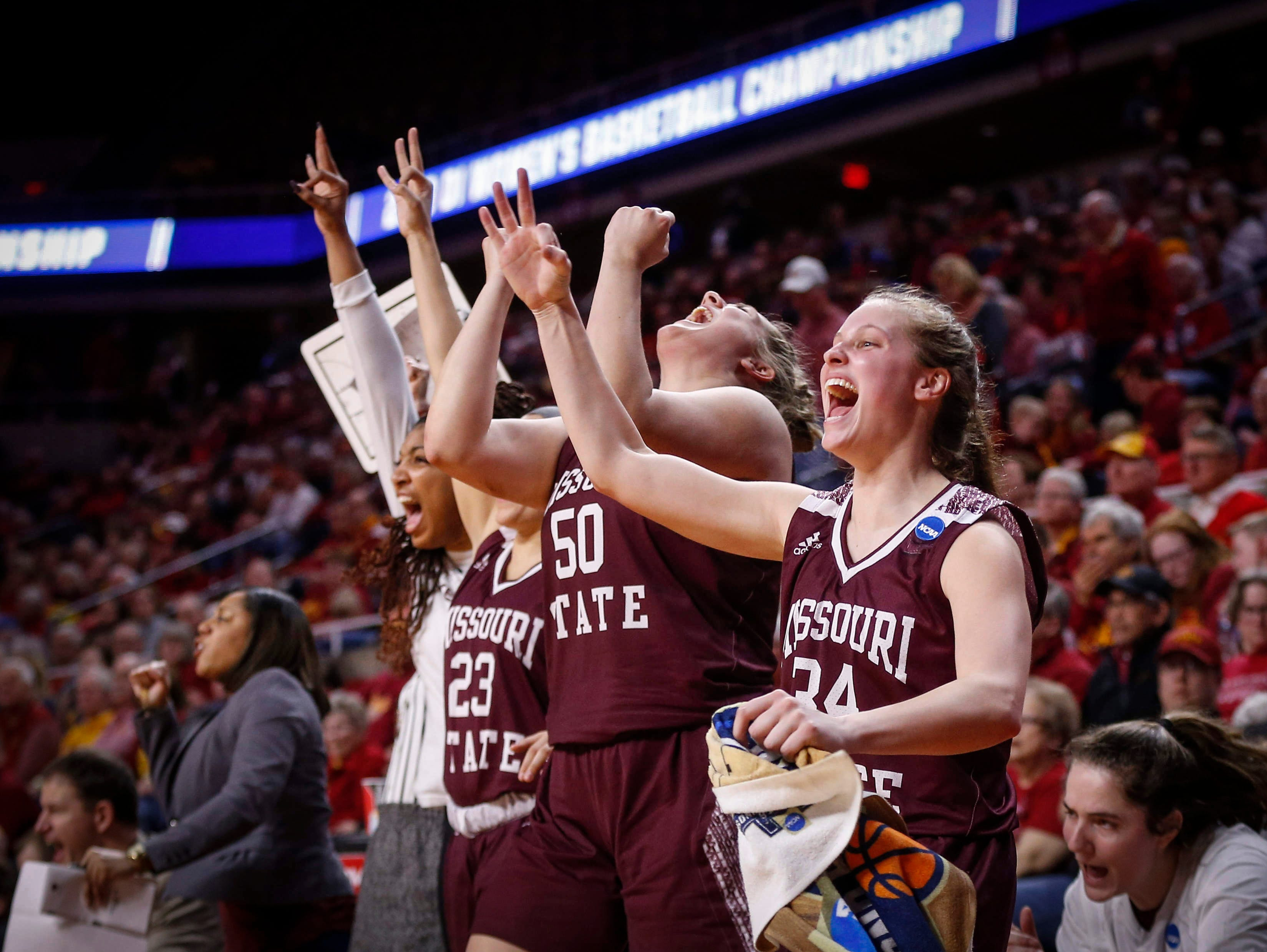 Members of the Missouri State women's basketball team react after Elle Ruffridge hit a three-pointer in the third quarter against DePaul on Saturday, March 23, 2019, at Hilton Coliseum in Ames.
