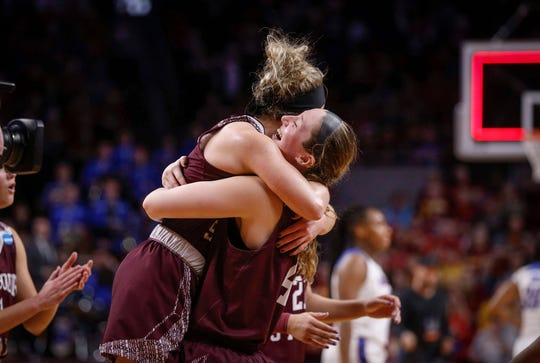 Members of the 11th-seeded Missouri State women's basketball team celebrate after knocking out 6th-seeded DePaul on Saturday, March 23, 2019, at Hilton Coliseum in Ames.