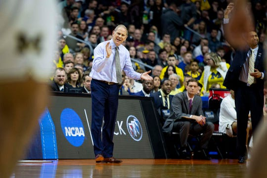 Michigan Head Coach John Beilein reacts to a play during the NCAA Tournament second-round match-up between Michigan and Florida on Saturday, March 23, 2019, in Wells Fargo Arena in Des Moines, Iowa.