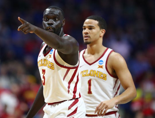 Mar 22, 2019; Tulsa, OK, USA; Iowa State Cyclones guard Marial Shayok (3) reacts as forward Cameron Lard (2) looks on during the first half against the Ohio State Buckeyes in the first round of the 2019 NCAA Tournament at BOK Center.