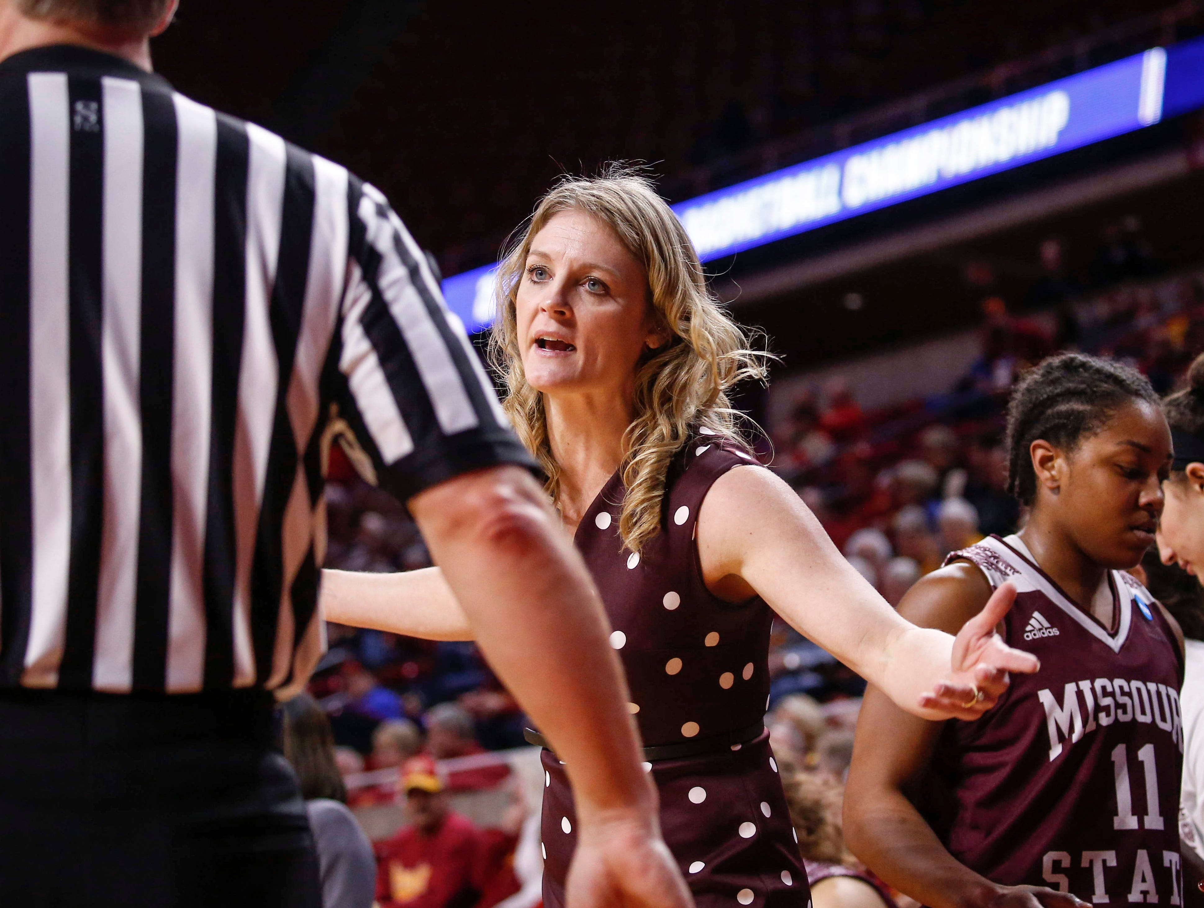 Missouri State women's head basketball coach Kellie Harper argues a call with an official in the second quarter against DePaul on Saturday, March 23, 2019, at Hilton Coliseum in Ames.