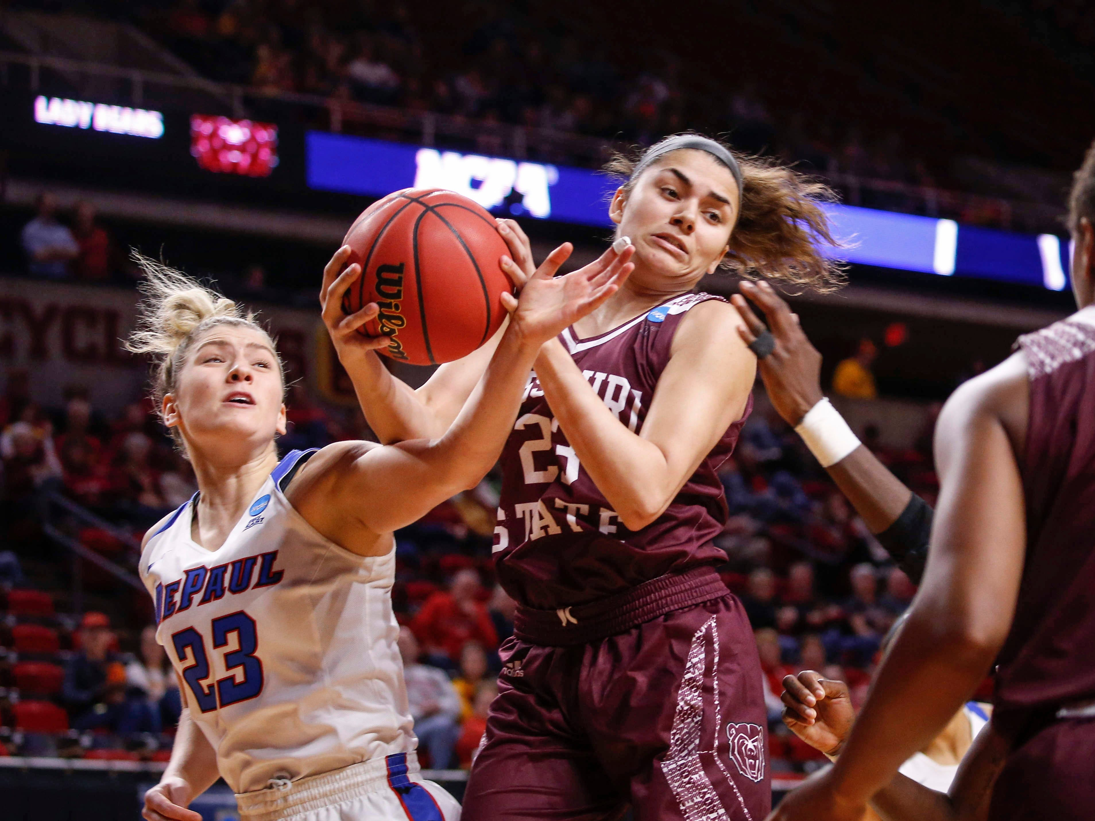 Missouri State freshman Mya Bhinhar pulls down a defensive rebound against DePaul on Saturday, March 23, 2019, at Hilton Coliseum in Ames.