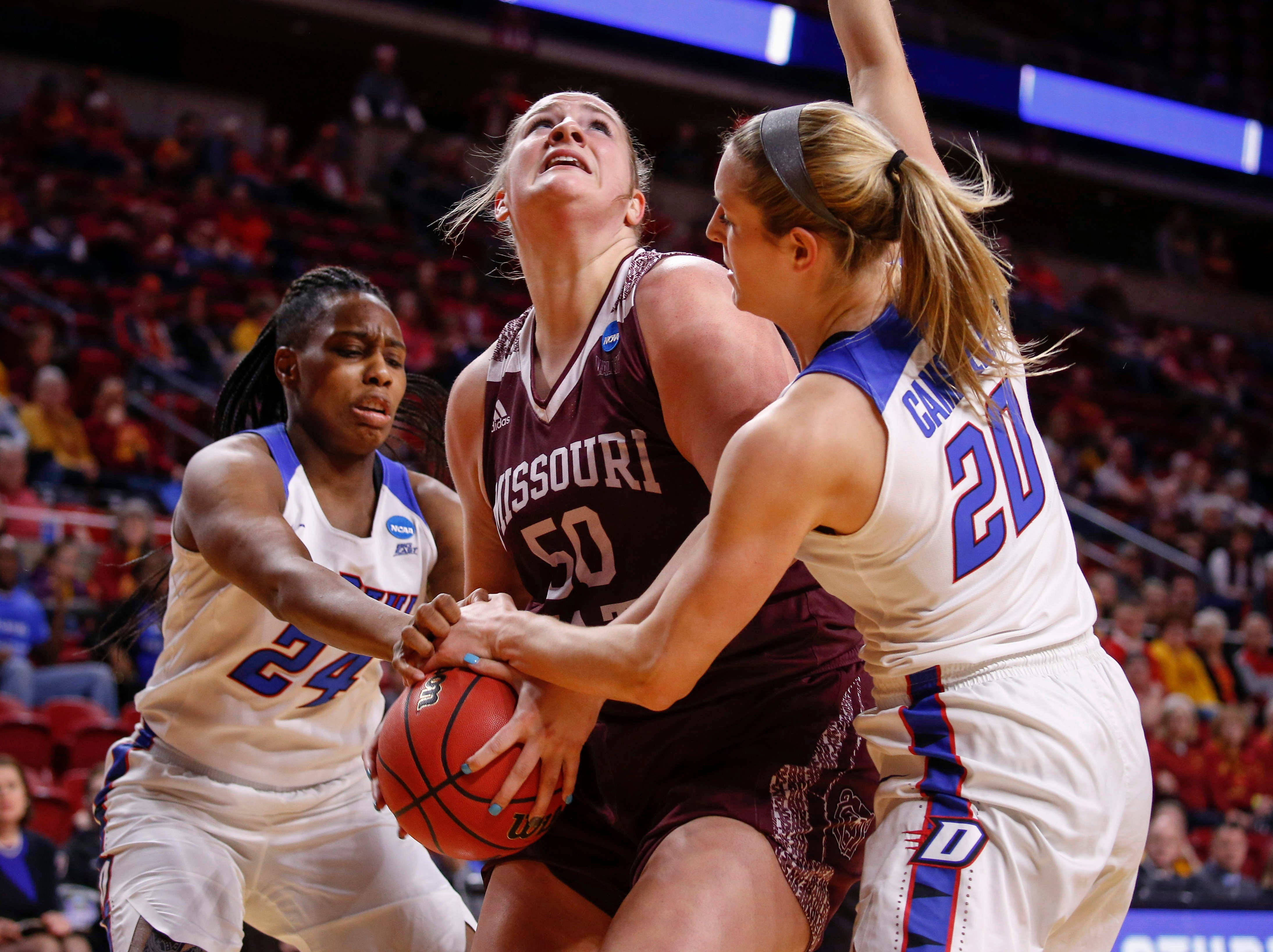 Missouri State sophomore Emily Gartner battles her way to the basket against DePaul on Saturday, March 23, 2019, at Hilton Coliseum in Ames.