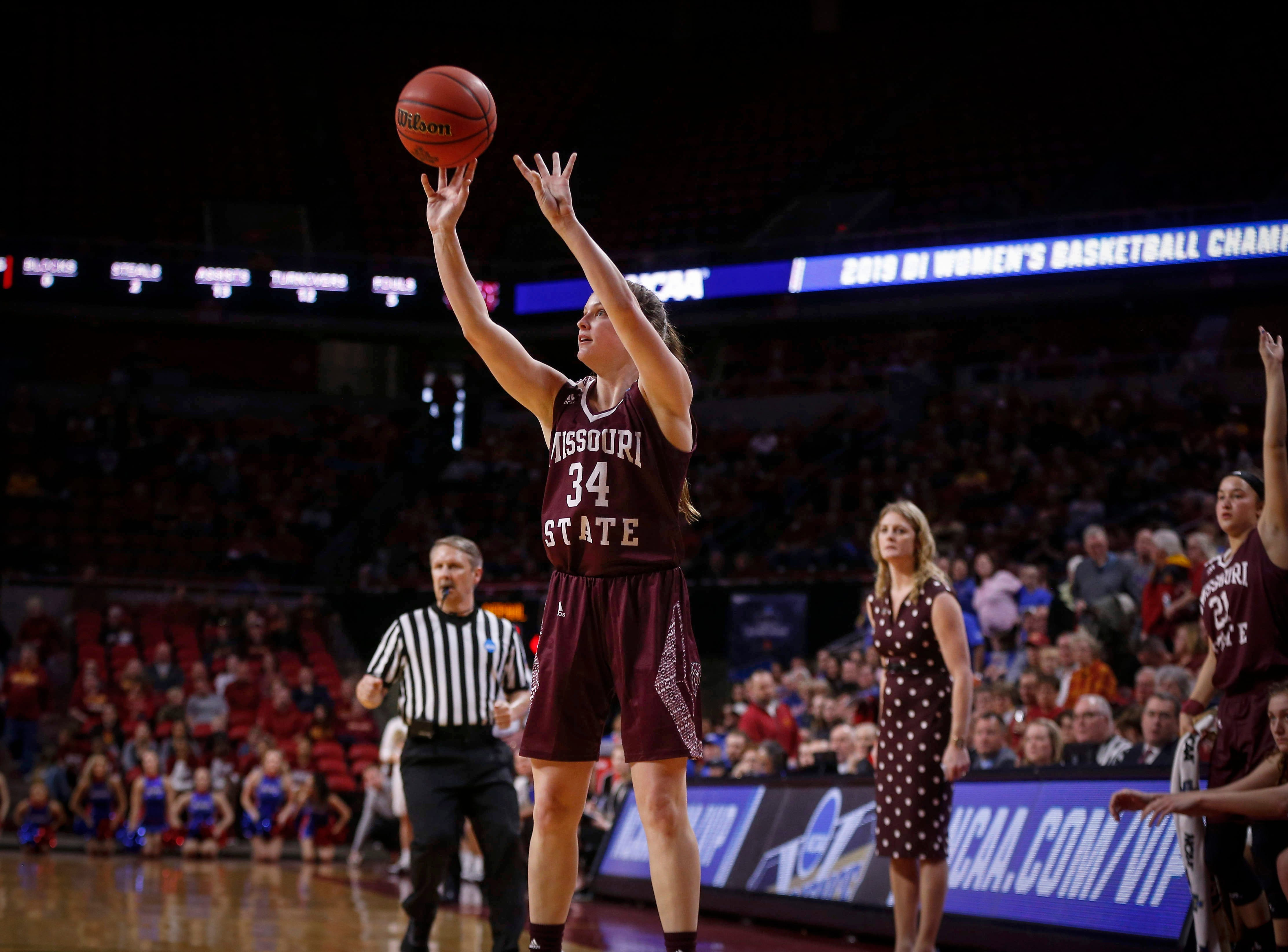 Missouri State freshman Sydney Manning fires a three-point field goal in the third quarter against DePaul on Saturday, March 23, 2019, at Hilton Coliseum in Ames.