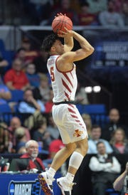 Mar 22, 2019; Tulsa, OK, USA; Iowa State Cyclones guard Lindell Wigginton (5) shoots against the Ohio State Buckeyes during the first half in the first round of the 2019 NCAA Tournament at BOK Center.