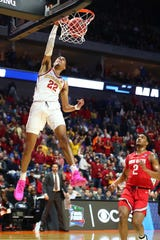 Mar 22, 2019; Tulsa, OK, USA; Iowa State Cyclones guard Tyrese Haliburton (22) dunks against Ohio State Buckeyes guard Musa Jallow (2) during the first half in the first round of the 2019 NCAA Tournament at BOK Center.