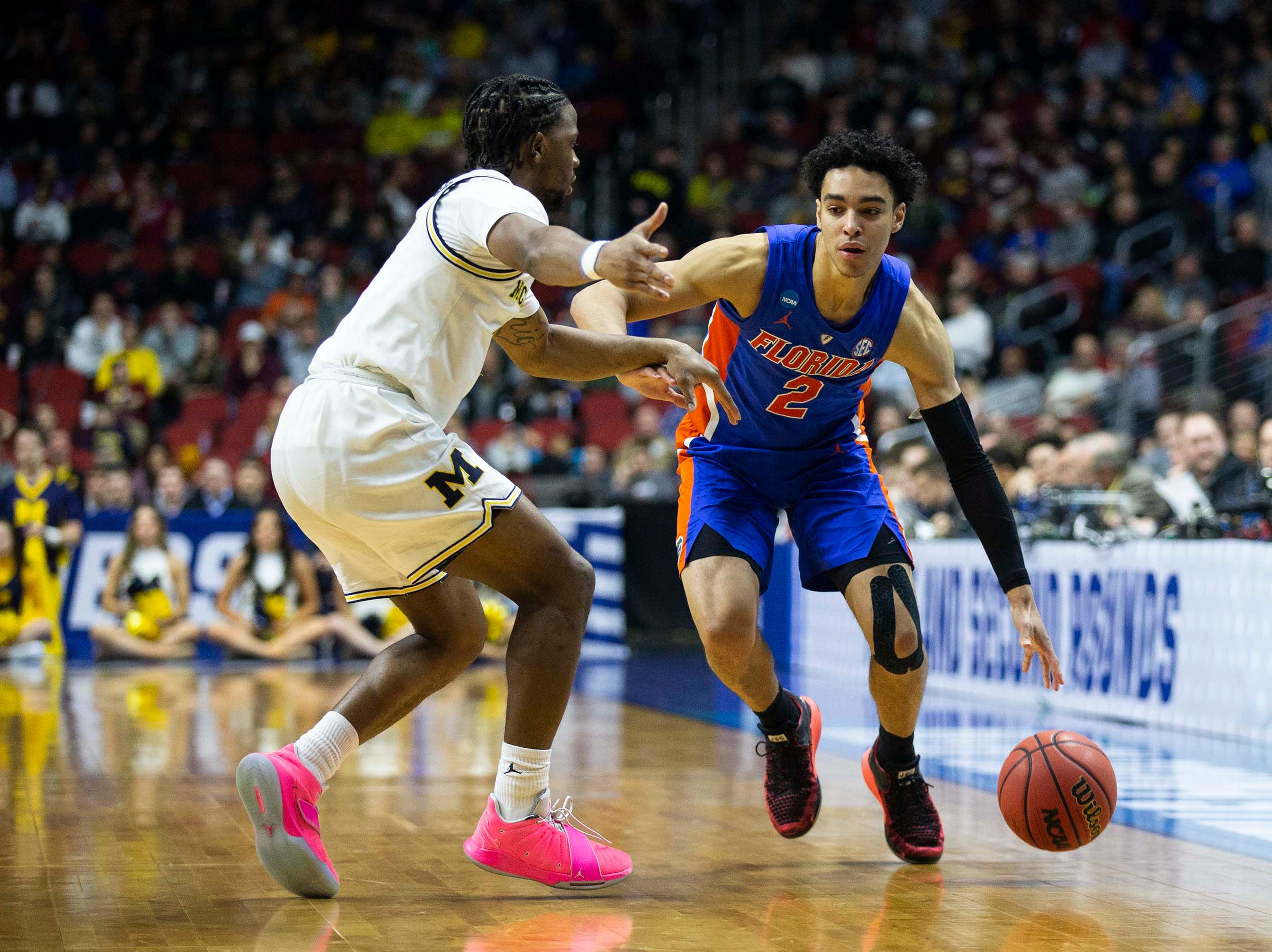 Florida's Andrew Nembhard brings the ball down the court during the NCAA Tournament second-round match-up between Michigan and Florida on Saturday, March 23, 2019, in Wells Fargo Arena in Des Moines, Iowa.