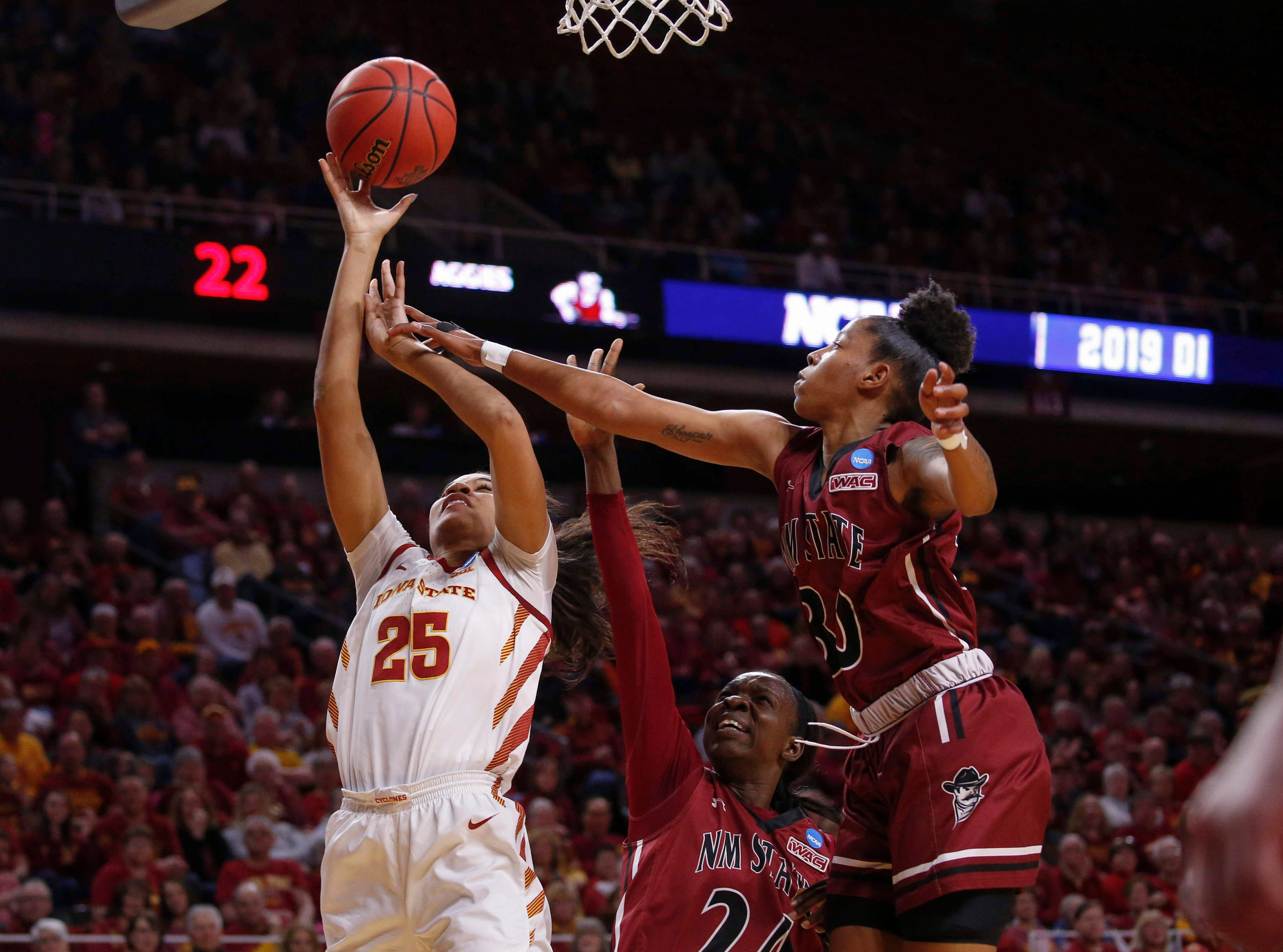 Iowa State sophomore Kristin Scott puts up a shot against New Mexico State on Saturday, March 23, 2019, at Hilton Coliseum in Ames.