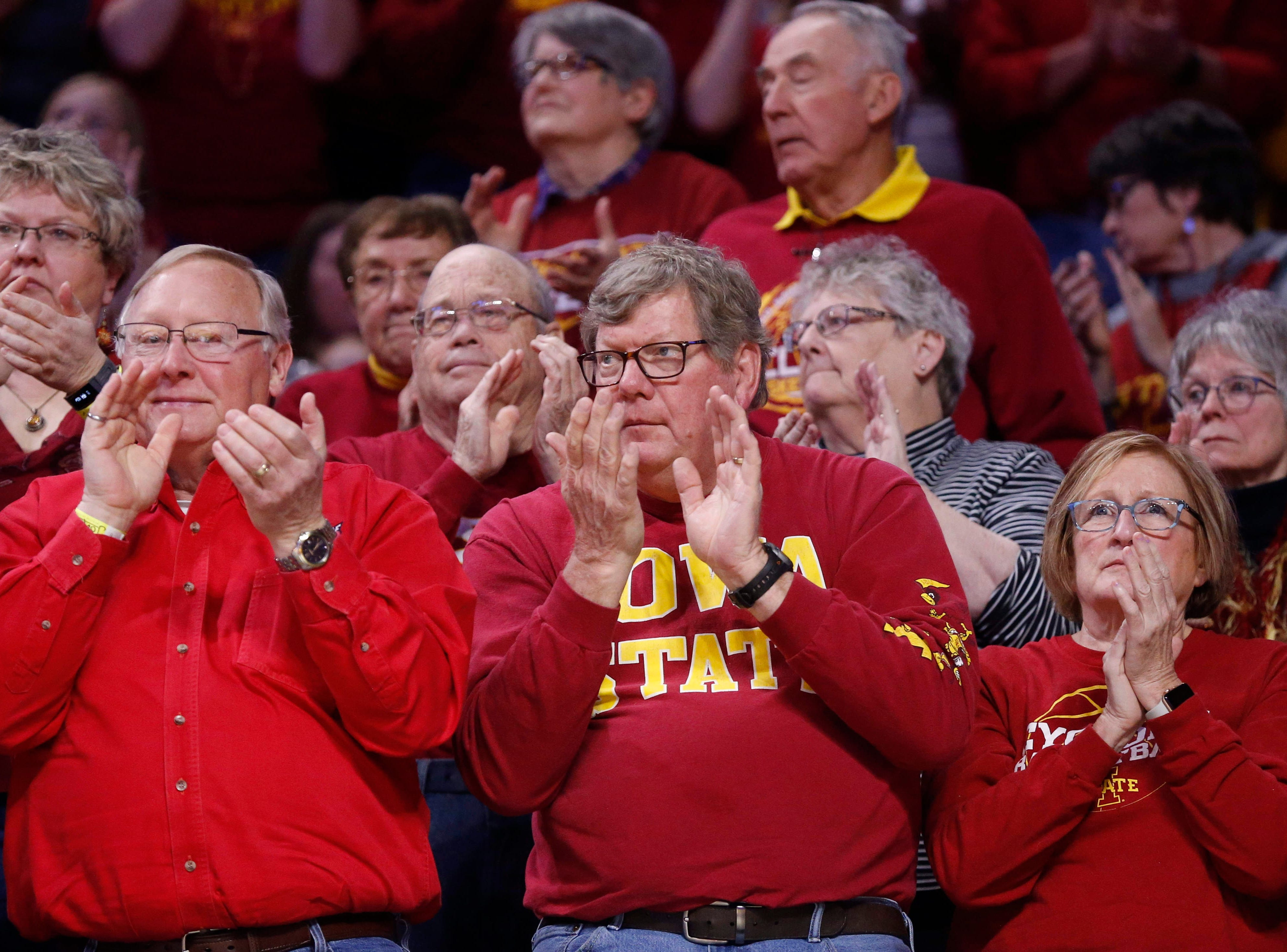 Iowa State fans cheer on the Cyclone women's basketball team against New Mexico State on Saturday, March 23, 2019, at Hilton Coliseum in Ames.