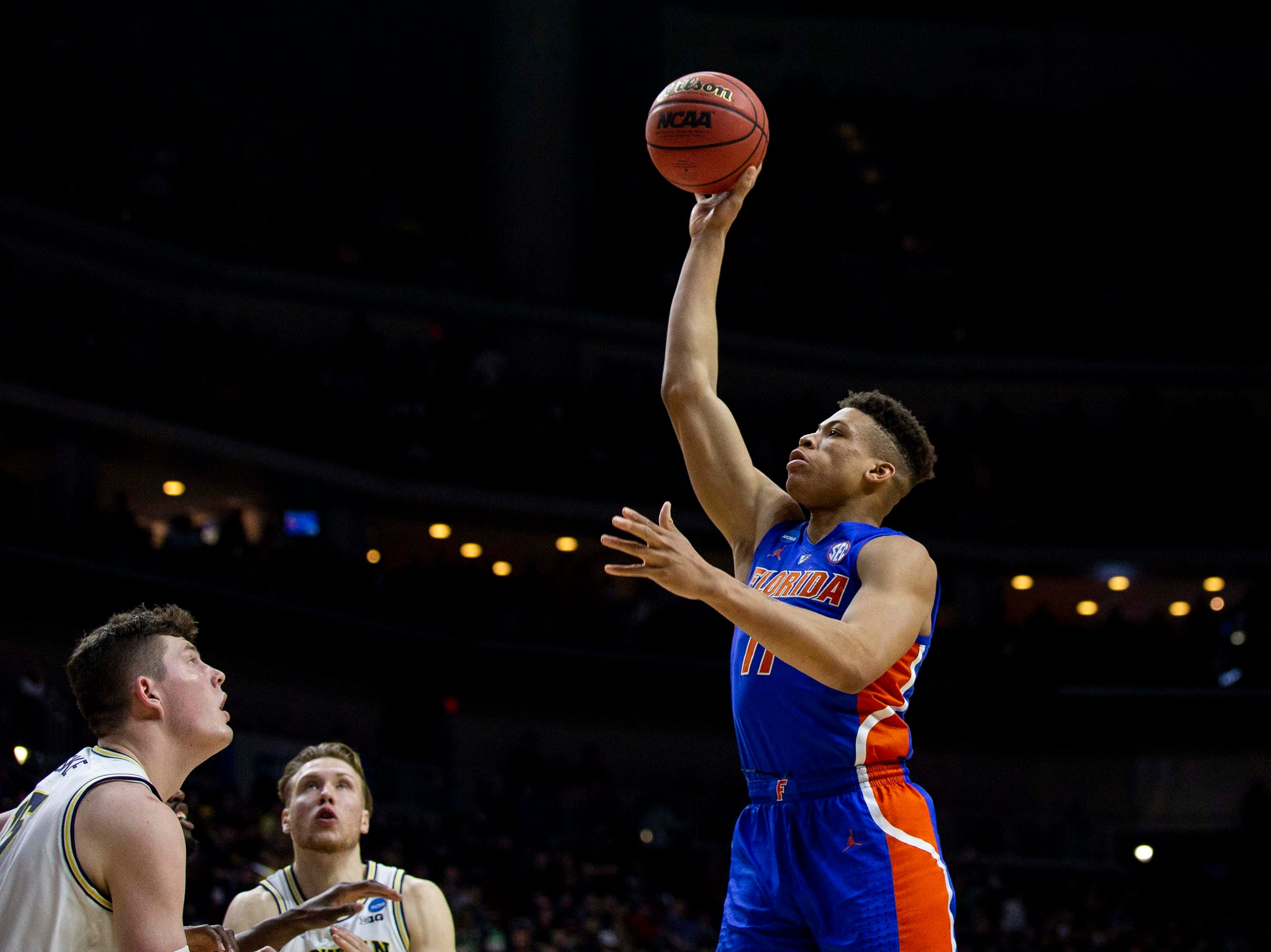 Florida's Keyontae Johnson shoots the ball during the NCAA Tournament second-round match-up between Michigan and Florida on Saturday, March 23, 2019, in Wells Fargo Arena in Des Moines, Iowa.