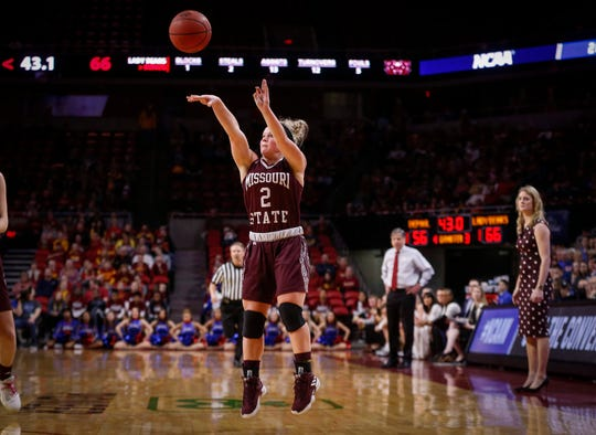 Missouri State sophomore Elle Ruffridge fires a three-point field goal in the third quarter against DePaul on Saturday, March 23, 2019, at Hilton Coliseum in Ames.