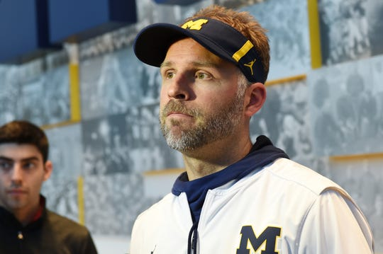 Michigan football quarterbacks coach Ben McDaniels speaks to the media during a press conference at Schembechler Hall on Friday, March 22, 2109.
