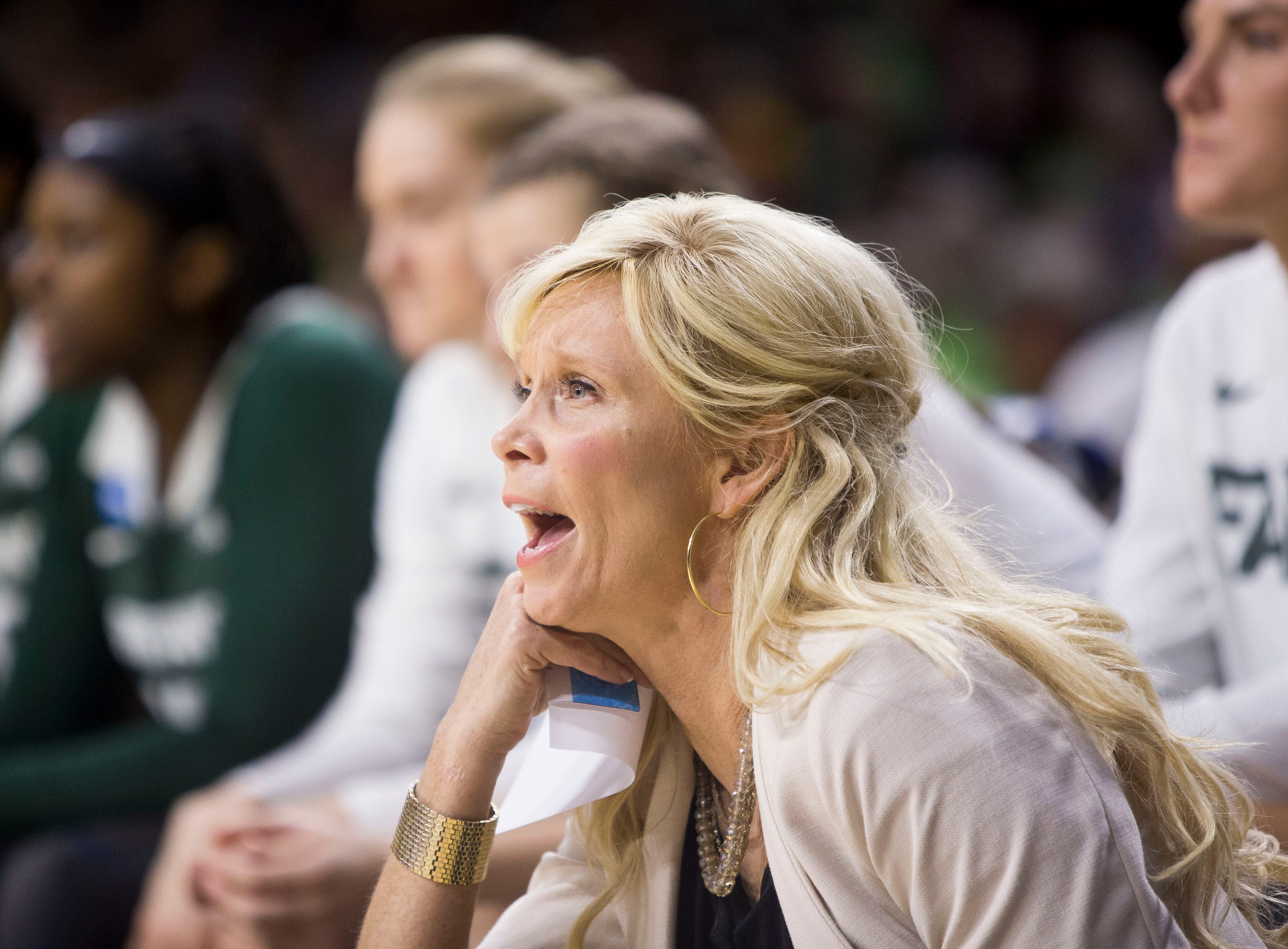 Michigan State head coach Suzy Merchant looks on during a first-round game against Central Michigan in the NCAA women's college basketball tournament in South Bend, Ind., Saturday, March 23, 2019. Michigan State won 88-87.