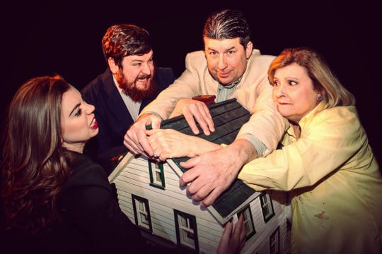"Erin Hildebrandt, left, Andy Reid, Jerry M. Nehr, Jr. and Sue Chekaway in the Ringwald's production of ""The House."""