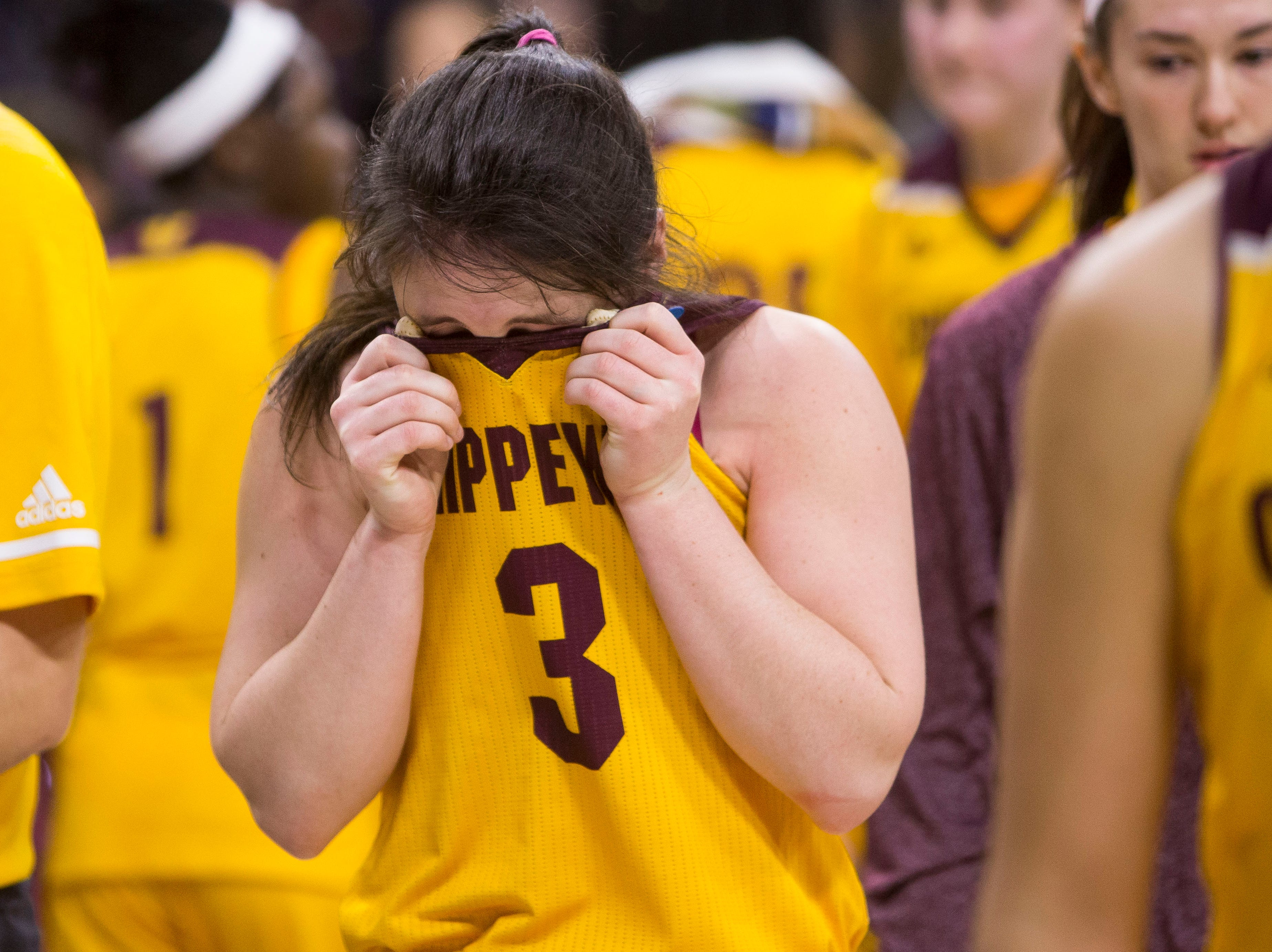 Central Michigan's Presley Hudson becomes emotional as she exits the court following the 88-87 loss to Michigan State in a first-round game in the NCAA women's college basketball tournament in South Bend, Ind., Saturday, March 23, 2019.