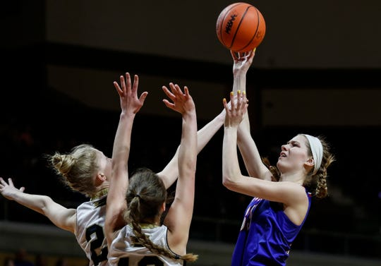 Adrian Lenawee Christian forward Breanne Salenbien (35) makes a jump shot against St. Ignace during the first half of MHSAA girls Division 4 final at Van Noord Arena in Grand Rapids, Saturday, March 23, 2019.