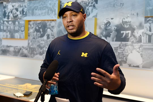 Michigan football offensive coordinator Josh Gattis speaks to the media during a news conference at Schembechler Hall on Friday, March 22, 2019.