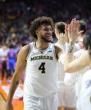 Michigan's Isaiah Livers, after the 64-49 win against Florida in the second round of the NCAA tournament Saturday, March 23, 2019 at Wells Fargo Arena in Des Moines, Iowa.