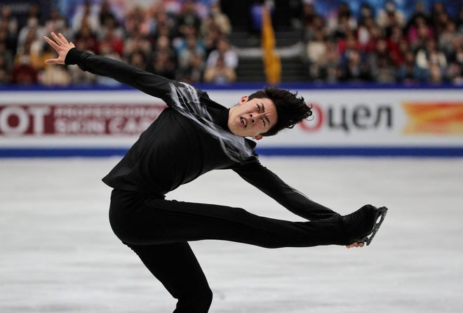 Nathan Chen from the U.S. performs his men's free skating routine during the world finals Saturday in Japan.