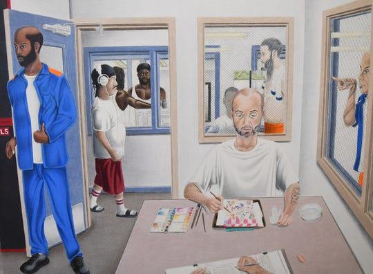 Colored pencil piece by Christopher A. Levitt entitled 'The Painter: a Portrait of Prison.'