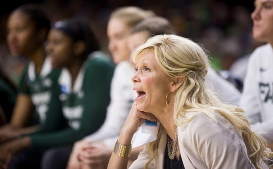 Michigan State head coach Suzy Merchant looks on during the game.