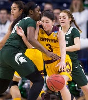 Central Michigan's Presley Hudson moves between Michigan State's Victoria Gaines, left, and Taryn McCutcheon during the NCAA Tournament.