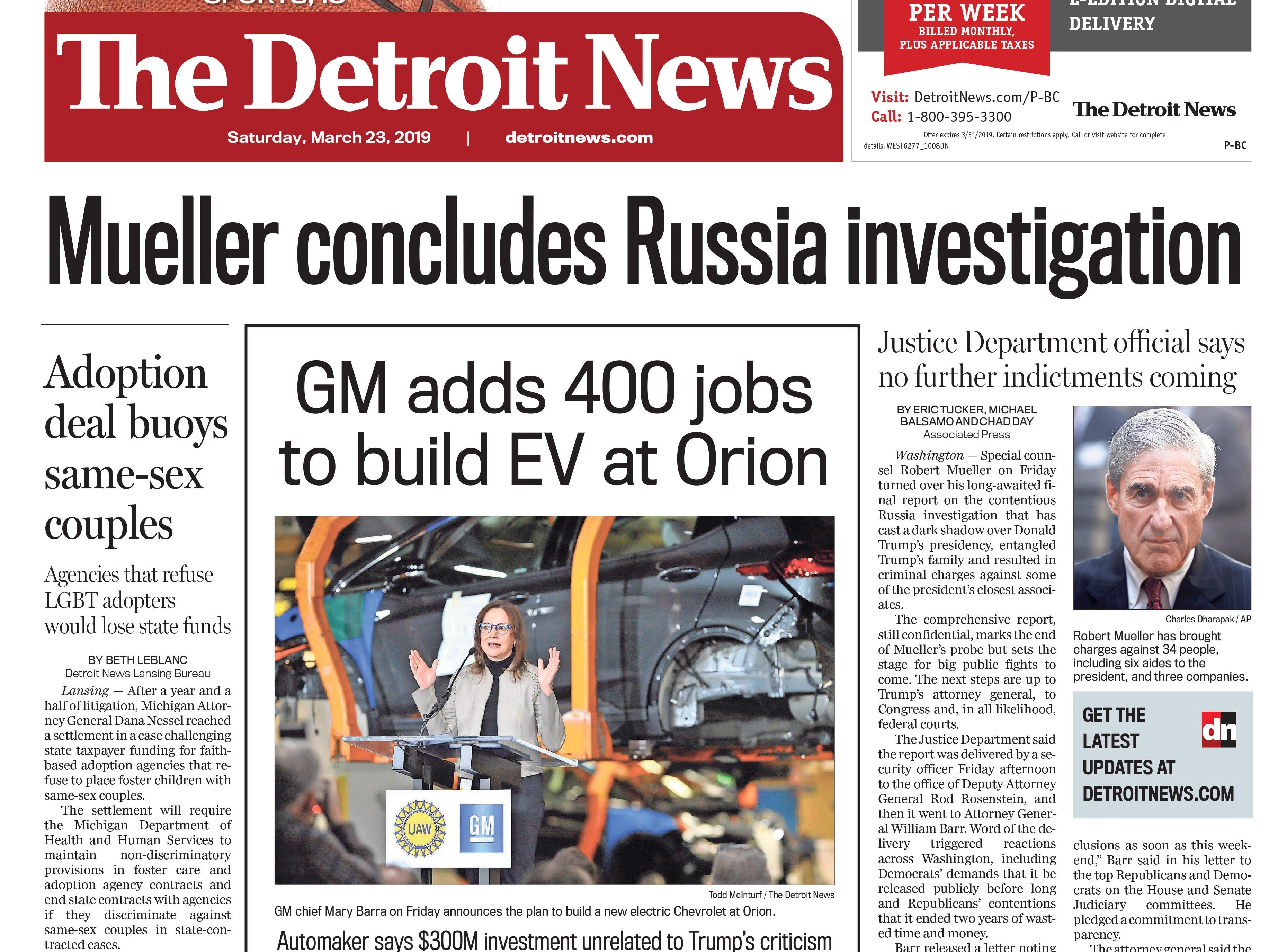 The front page of the Detroit News on Saturday, March 23, 2019.