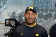 University of Michigan's offensive coordinator Josh Gattis speaks to reporters after practice in Ann Arbor on Friday, March 22, 2019. 