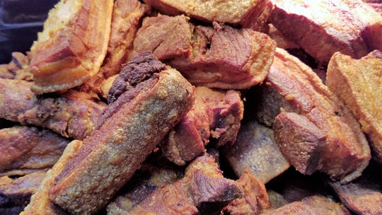 Chicharrones de carne: chunks of skin-on pork belly fried until soft in the middle, crunchy outside.