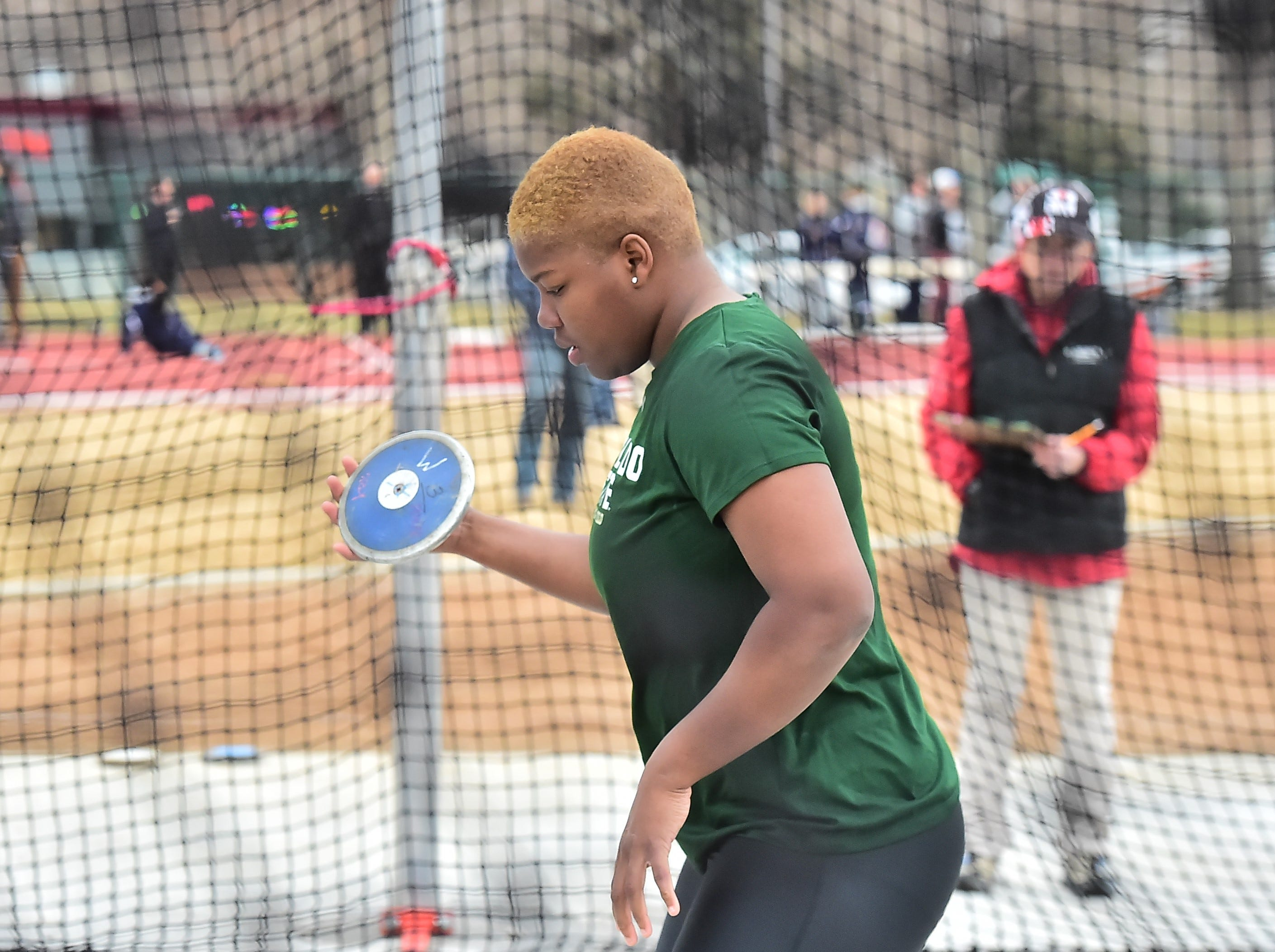 CSU's Shadae Lawrence, a transfer from Kansas State and the defending NCAA champion, prepares to throw the discus Saturday, March 23, 2019, in the Fum McGraw Open at Jack Christiansen Track.