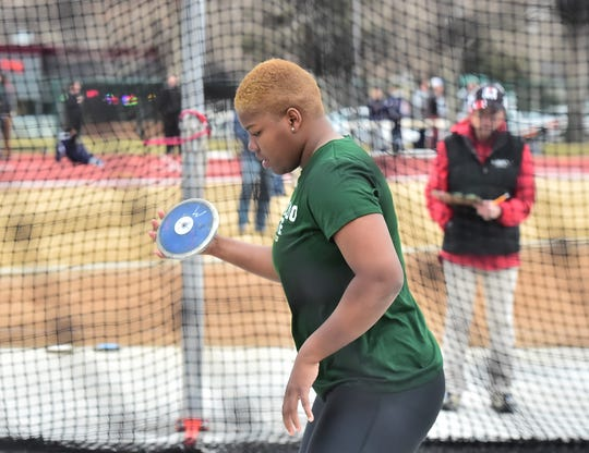 Senior Shadae Lawrence, shown competing in the Fum McGraw Open on March 23, 2019, at CSU, set both a school and Mountain West record in the women's discus while helping the Rams' track and field teams sweep the conference's outdoor titles in Clovis, Calif. CSU also won the men's and women's MW indoor titles this year.