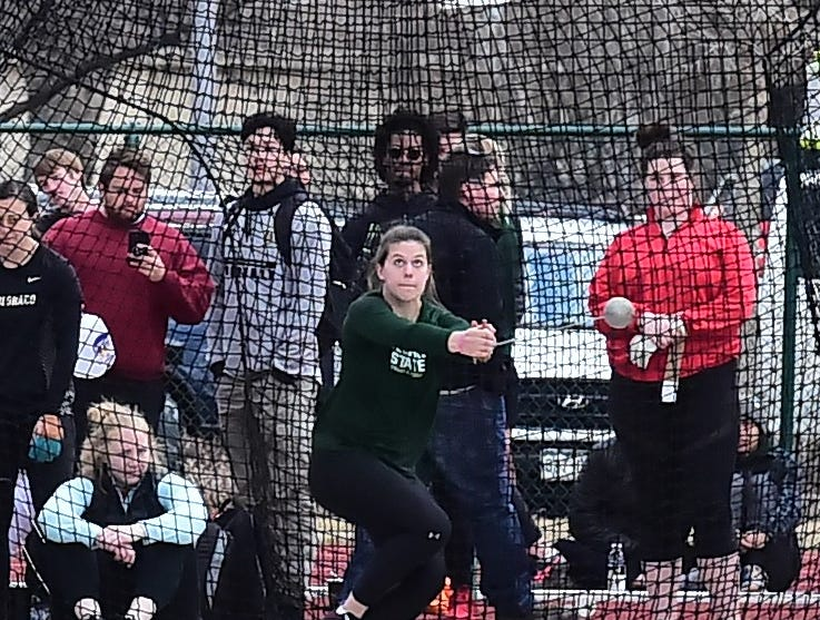 CSU's Kelcey Bedard threw the hammer a personal-best 210 feet, 1 inch on Friday, March 22, to win the event at the Fum McGraw Open. It was the first event in the first home meet on Colorado State University's renovated track and field facility.