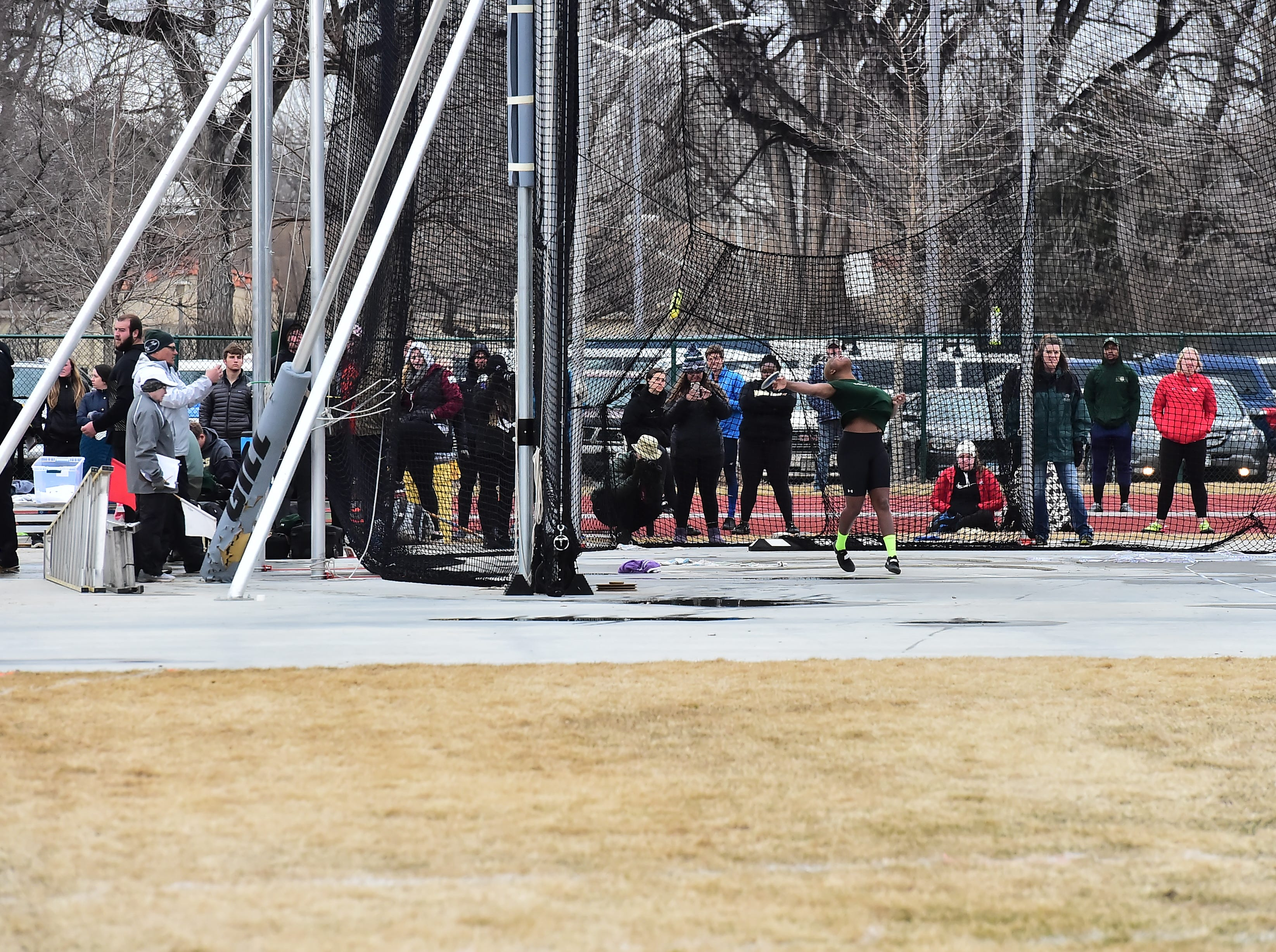 CSU's Shadae Lawrence, a transfer from Kansas State and the defending champion in the women's discus, throws from the new ring at Colorado State University's renovated Jack Christiansen Track during the Fum McGraw Open on March 23, 2019.