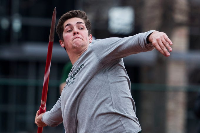 Colorado State University freshman Jack Morris competes in the javelin throw on Saturday, March 23, 2019, at the Jack Christiansen Memorial Track in Fort Collins, Colo.