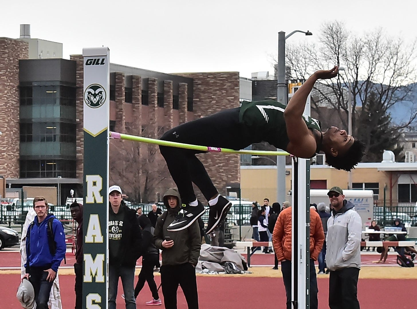 CSU's Antwan Ross-Jones clears 6 feet, 8 inches to finish second in the men's high jump Saturday, March 23, 2019, in the Fum McGraw Open at Colorado State University's Jack Christiansen Track.