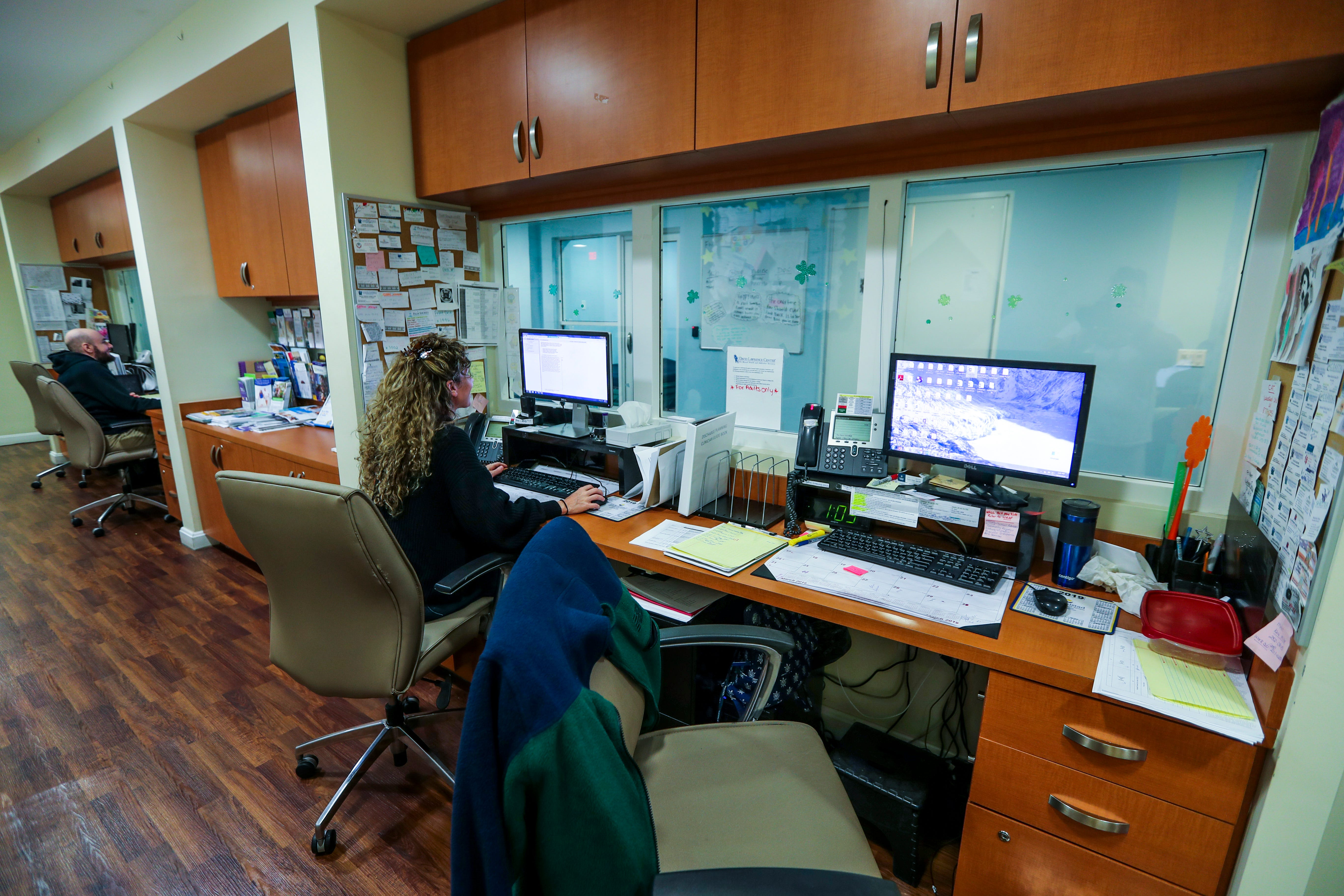 Nurses stations just outside the Children's Crisis Unit. David Lawrence Center in Naples takes in both children and adults. Most of their patients have been baker acted. There are bedrooms, a room used for art and a common area. There is a small outdoors area to hang in as well.