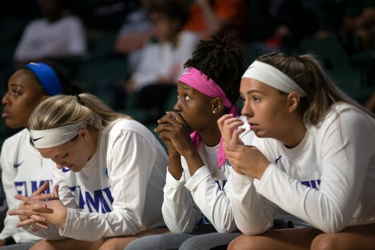 The FGCU bench reacts as a lead slips away against the University of Miami during the first round of the NCAA Tournament on Friday at Watsco Center in Coral Gables.
