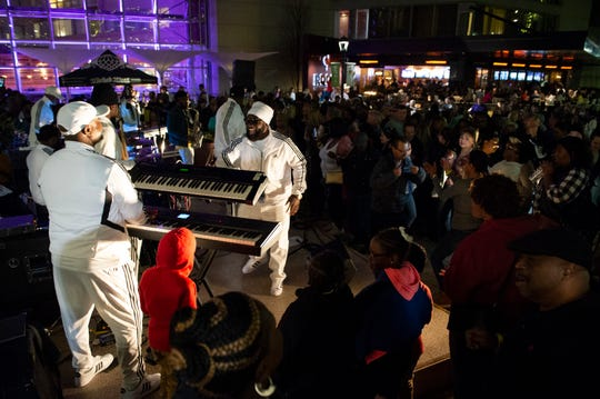 The Night Affair Band performs during the first of the 2019 Main Street Fridays concert series in NOMA Square Friday, Mar. 22, 2019.
