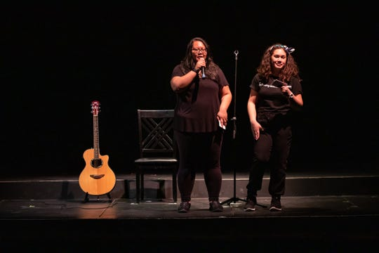 CJ Ochoco and Sierra Sevilla speak at the start of the dress rehearsal of 21 Chump Street and Enamored, a two-part production by Breaking Wave Theatre Company.