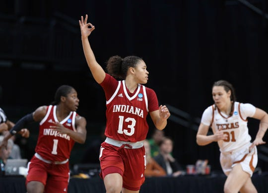 Jaelynn Penn (13) scored a team-high 24 points in IU's first round win over Texas in Eugene, Ore., on Friday.