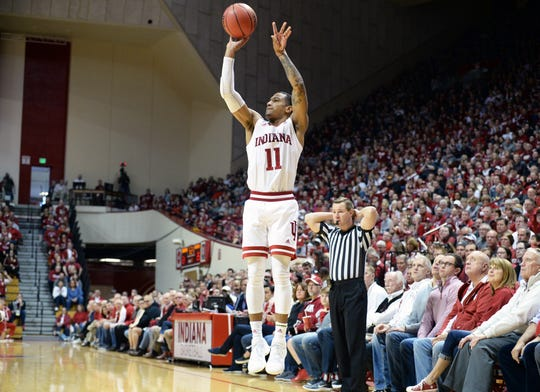 Indiana Hoosiers guard Devonte Green (11) shoots the ball during the game against Arkansas at Simon Skjodt Assembly Hall in Bloomington Ind., on Saturday, March 23, 2019.