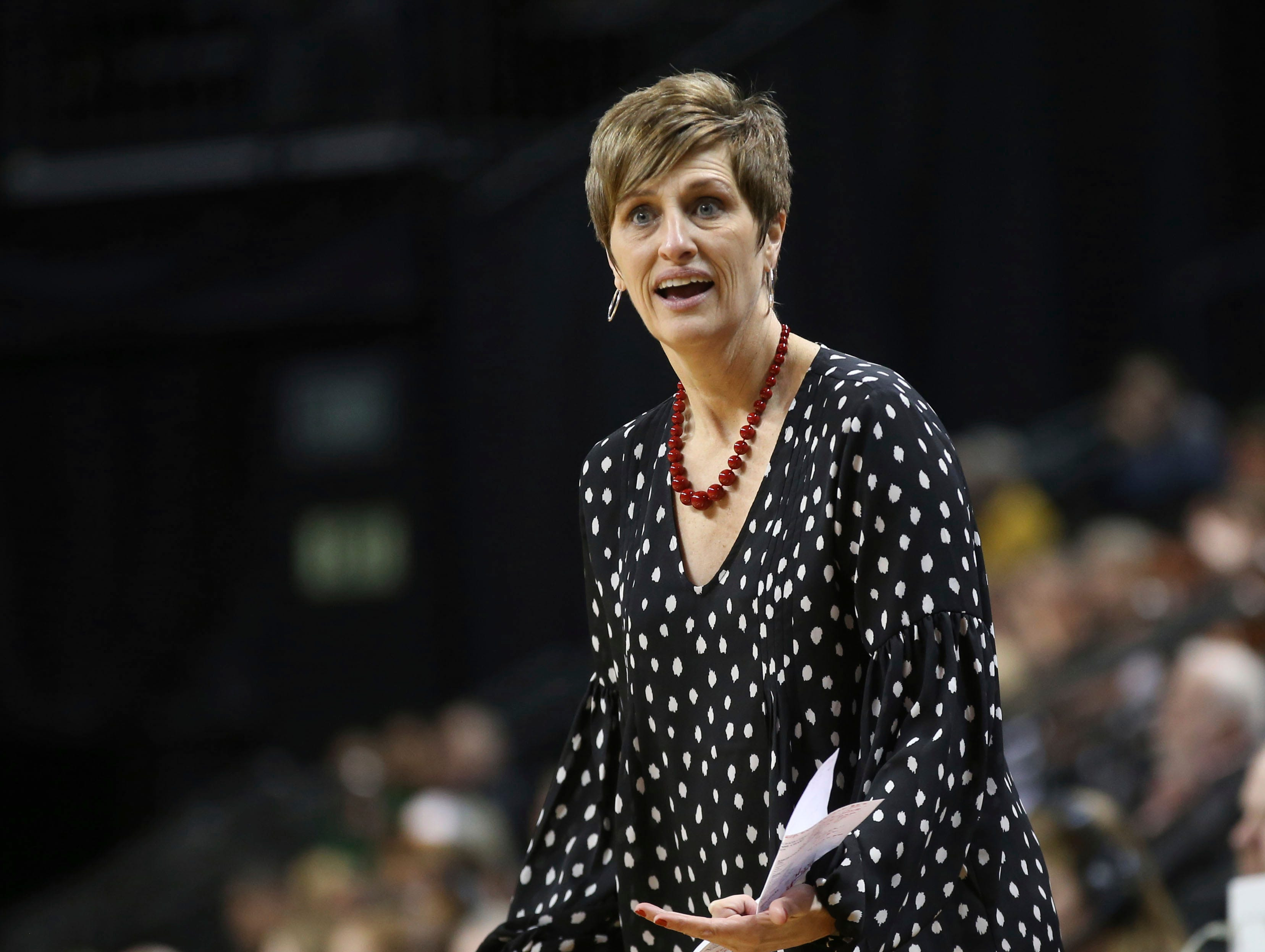 Indiana coach Teri Moren questions a call during the first half of the team's NCAA women's college basketball tournament game against Texas on Friday, March 22, 2019, in Eugene, Ore. (AP Photo/Chris Pietsch)