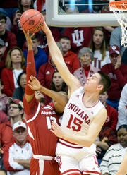 Indiana Hoosiers guard Zach McRoberts (15) blocks a shot during the game against Arkansas at Simon Skjodt Assembly Hall in Bloomington Ind., on Saturday, March 23, 2019.