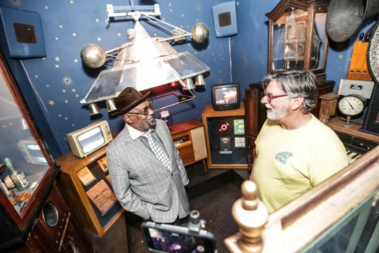 Funk legend George Clinton (left) reunited with friend and Indy resident Tom Battista at the Museum of Psychphonics in 2016. Parliament Funkadelic's baby mothership is part of the Museum of Psychphonics' collection.