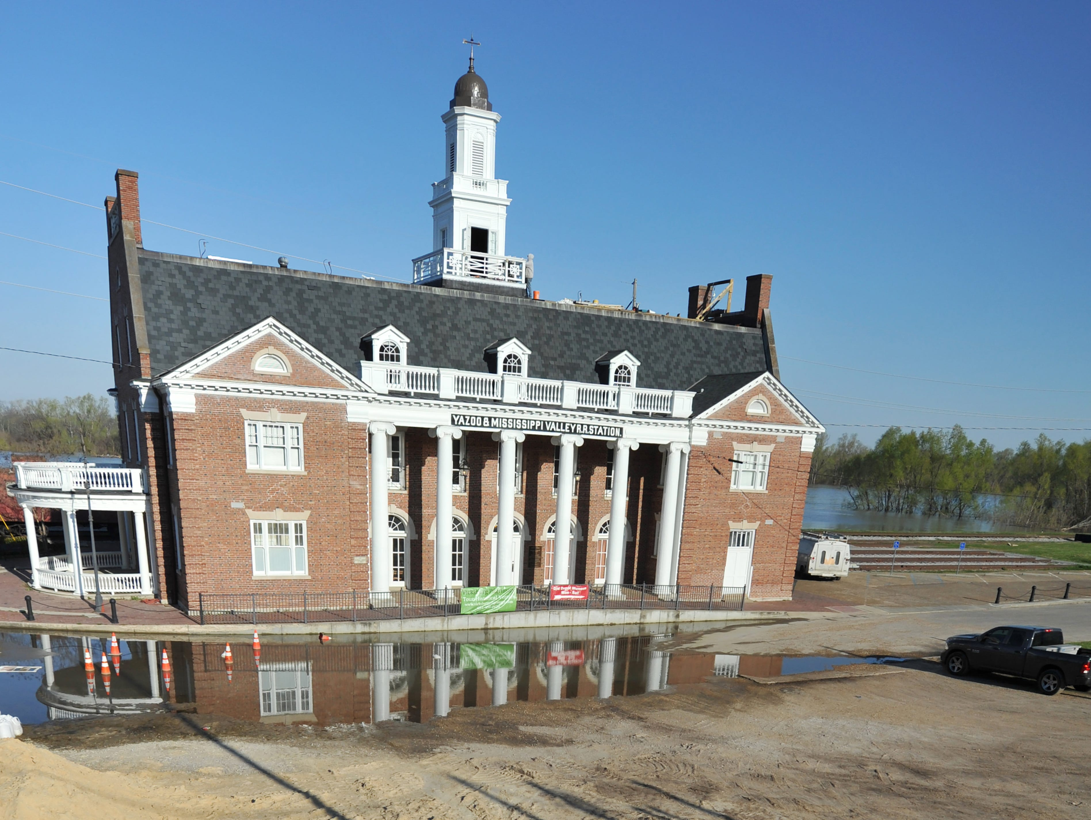 The Old Depot Museum in Vicksburg remains safe from the floodwaters of the Yazoo River, but sandbags are filled and ready if needed anywhere in the city. In 2011 flood, the museum got over five feet of water inside.
