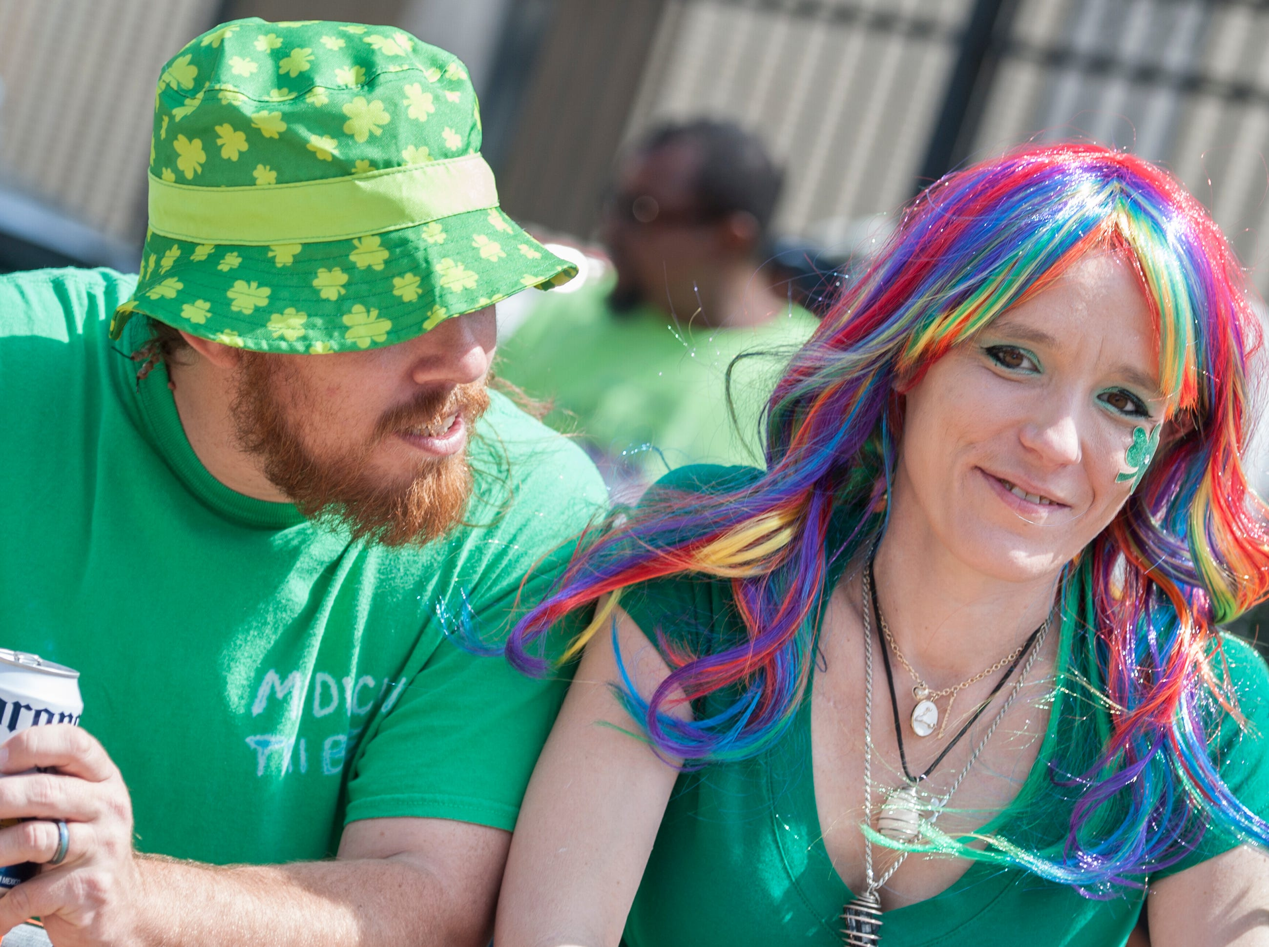 Madison residents Chris Chapman and Taffany McTaggary have been going to the Hal's St. Paddy's Day Parade for years and are dressed for the day.