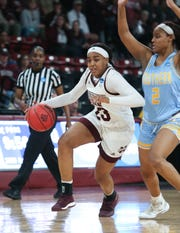 Mississippi State's Bre'Amber Scott (23) brings the ball across mid court in the first half. Mississippi State played Southern University in an NCAA Women's Basketball Tournament first round game on Friday, March 22, 2019 at Humphrey Coliseum. Photo by Keith Warren