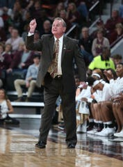 Mississippi State's Vic Schaefer yells instructions to his team in the first quarter. Mississippi State played Southern University in an NCAA Women's Basketball Tournament first round game on Friday, March 22, 2019 at Humphrey Coliseum. Photo by Keith Warren