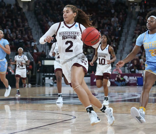 Mississippi State sophomore guard Andra Espinoza-Hunter has been the sharpshooter the Bulldogs needed her to be since Chloe Bibby went down with her ACL injury. Espinoza-Hunter shoots 41.9 percent from three this season. Photo by Keith Warren